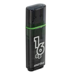 Флэш-диск 16 GB, SMARTBUY Glossy, USB 2.0, черный