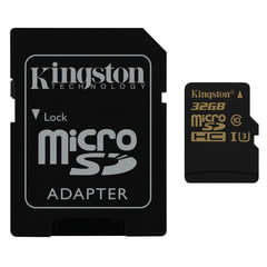 Карта памяти micro SDHC, 32 GB, KINGSTON Gold, UHS-I U3, 90 Мб/сек. (class 10), с адаптером
