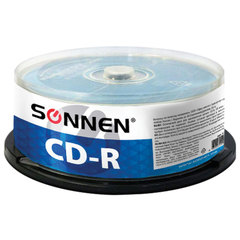 Диски CD-R SONNEN, 700 Mb, 52x, Cake Box, 50 шт.