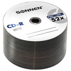 Диски CD-R SONNEN, 700 Mb, 52x, Bulk, 50 шт.