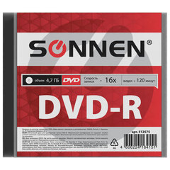 Диск DVD-R SONNEN, 4,7 Gb, 16x, Slim Case (1 штука)