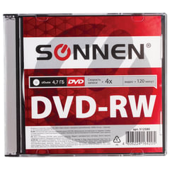 Диск DVD-RW (минус) SONNEN, 4,7 Gb, 4x, Slim Case (1 штука)