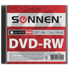 Диск DVD-RW (минус) SONNEN, 4,7 Gb, 4x, Slim Case (1 штука)
