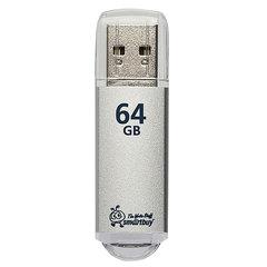 Флэш-диск 64 GB, SMARTBUY V-Cut, USB 2.0, металлический корпус, серебристый