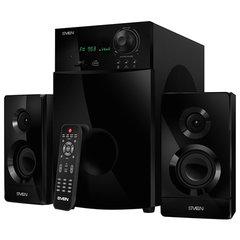 Колонки компьютерные SVEN AC MS-2100, 2.1, 80 Вт, часы, FM-тюнер, дерево, черные