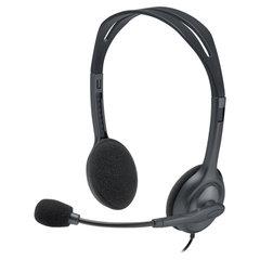Наушники с микрофоном (гарнитура) LOGITECH H111, проводные, 1,8 м, с оголовьем, серебристые