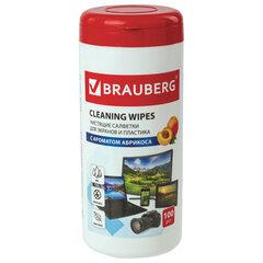 Салфетки для экранов всех типов и пластика BRAUBERG с ароматом АБРИКОС, туба 100 шт., влажные, 513321