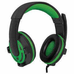 Наушники с микрофоном (гарнитура) DEFENDER Warhead G-300,проводные, 2,5 м, с оголовьем, черные с зеленым
