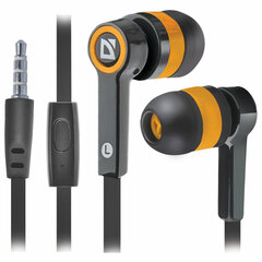 Наушники с микрофоном (гарнитура) вкладыши DEFENDER Pulse 420, проводные,1,2 м, вкладыши, черные с оранжевым