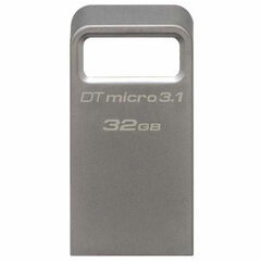 Флеш-диск 32 GB KINGSTON DataTraveler Micro USB 3.1, металлический корпус, серебряный, DTMC3/32GB