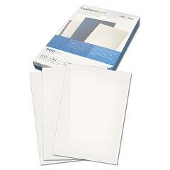 """Обложки картонные для переплета А4, КОМПЛЕКТ 100 шт.,тиснение под кожу, белые, GBC (Англия) """"LeatherGrain"""""""