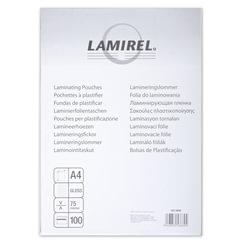 Пленки-заготовки для ламинирования LAMIREL, комплект 100 шт., для формата А4, 75 мкм