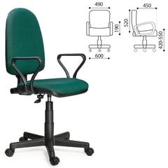 """Кресло """"Престиж"""", регулируемая спинка, с подлокотниками, черно-зеленое"""