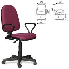 """Кресло """"Престиж"""", регулируемая спинка, с подлокотниками, черно-бордовое"""