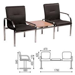 """Кресло для посетителей двухсекционное, со столом, """"Staff 2T"""", хром, кожзаменитель черный"""