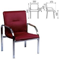 """Кресло для приемных и переговорных """"Staff"""", с подлокотниками, кожзаменитель, хром, бордовое"""