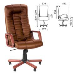 "Кресло офисное ""Atlant extra"", кожа, дерево, коричневое"
