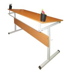 Стол-парта 2-местный, регулируемый угол, 1200х500х520-640 мм, рост 2-4, серый каркас, ЛДСП, бук