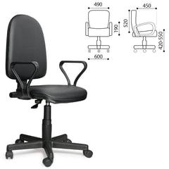 """Кресло """"Престиж"""", регулируемая спинка, с подлокотниками, кожзам, черное"""