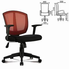 """Кресло BRABIX """"Diamond MG-301"""", с подлокотниками, комбинированное черное/оранжевое"""