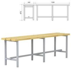 Скамья для раздевалок, 1500х340х475 мм, каркас металлический серый, сиденье дерево