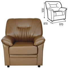 "Кресло ""Гарда"", 930х970х870 мм, c подлокотниками, экокожа, коричневое"