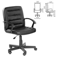 """Кресло """"Симпл"""", CH 192, с подлокотниками, кожзам, черное"""