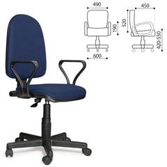 """Кресло """"Престиж"""", регулируемая спинка, с подлокотниками, кожзам, синее"""