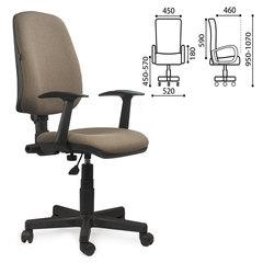 """Кресло BRABIX """"Basic MG-310"""", с подлокотниками, коричневое, KB"""