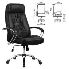 """Кресло офисное МЕТТА """"LK-7СН"""", кожа, хром, черное"""