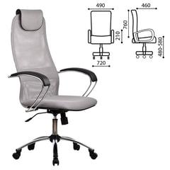 """Кресло офисное МЕТТА """"BK-8CH"""", ткань-сетка, хром, светло-серое"""