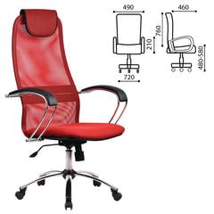 """Кресло офисное МЕТТА """"BK-8CH"""", ткань-сетка, хром, красное"""