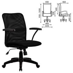 """Кресло МЕТТА """"FP-8PL"""", с подлокотниками, ткань-сетка, черное"""