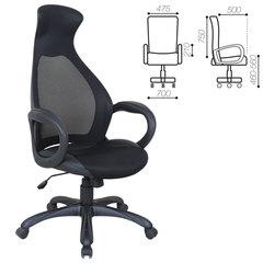 """Кресло офисное BRABIX PREMIUM """"Genesis EX-517"""", пластик черный, ткань/экокожа/сетка черная, 531574"""