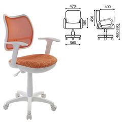 Кресло оператора CH-W797/OR/GIRAFFE с подлокотниками, оранжевое с рисунком, пластик белый