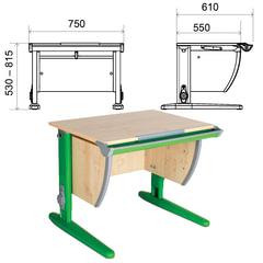 Стол-парта регулируемый ДЭМИ СУТ.14, 750х610х530-815 мм, зеленый металический каркас, ЛДСП, клен