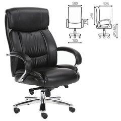 """Кресло офисное BRABIX """"Direct EX-580"""", хром, рециклированная кожа, черное"""