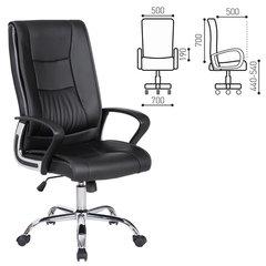 """Кресло офисное BRABIX """"Forward EX-570"""", хром, экокожа, черное, 531837"""