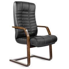 """Кресло для приемных и переговорных """"Атлант-экстра"""", кожа, дерево (орех), черное"""