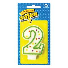 """Праздничная свеча цифра """"2"""" высотой 7,6 см"""