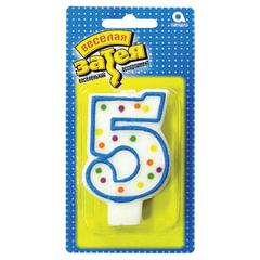 """Праздничная свеча цифра """"5"""" высотой 7,6 см"""