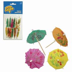 """Праздничная пика для канапе """"Зонтик"""", комплект 12 шт., деревянная, 10 см, в упаковке с европодвесом"""