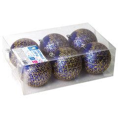 Шары елочные ЗОЛОТАЯ СКАЗКА, НАБОР 6 шт., пластик, 8 см, с золотистым рисунком, цвет синий