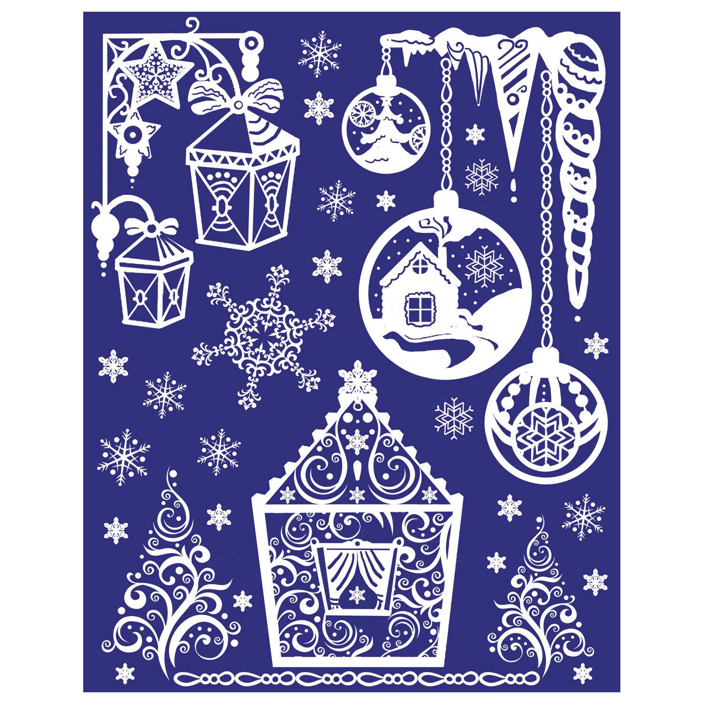 Новогодние открытки на окна
