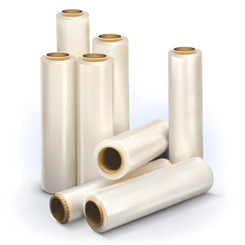 Стрейч-пленка для ручной упаковки, 50 см х 170 м, 20 мкм, 1,55 кг - нетто, ПЕРВИЧНОЕ СЫРЬЕ, растяжение 300%