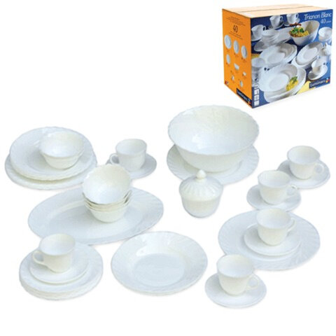 """Набор посуды столовый """"TRIANON"""", 40 предметов, белое стекло, LUMINARC"""