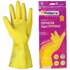Перчатки хозяйственные резиновые PATERRA с х/б напылением, размер М (средний)