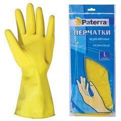 Перчатки хозяйственные резиновые PATERRA с х/б напылением, размер L (большой)