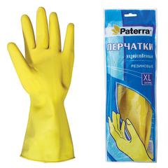 Перчатки хозяйственные резиновые PATERRA с х/б напылением, размер XL (очень большой)