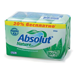 "Мыло туалетное антибактериальное 300 г ABSOLUT (Абсолют) КОМПЛЕКТ 4 шт. х 75 г ""Алоэ"",без триклозана, 6065"